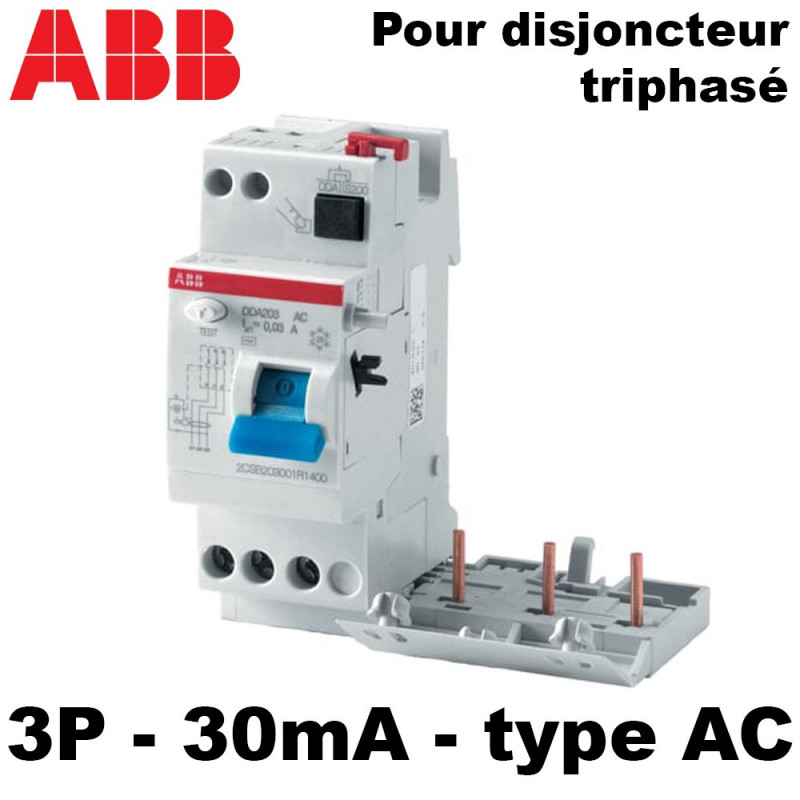 Bloc différentiel 30mA triphasé 30mA type AC ABB