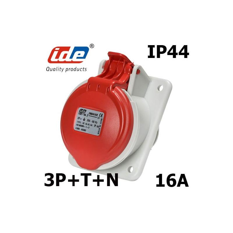 Prise inclinée femelle triphasée 3P+N+T 16A IP44 ou IP67 en 380V IDE