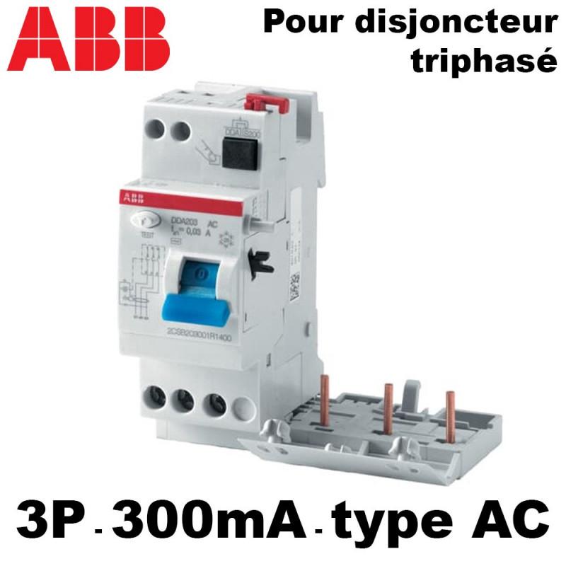 Bloc différentiel 300mA triphasé type AC ABB