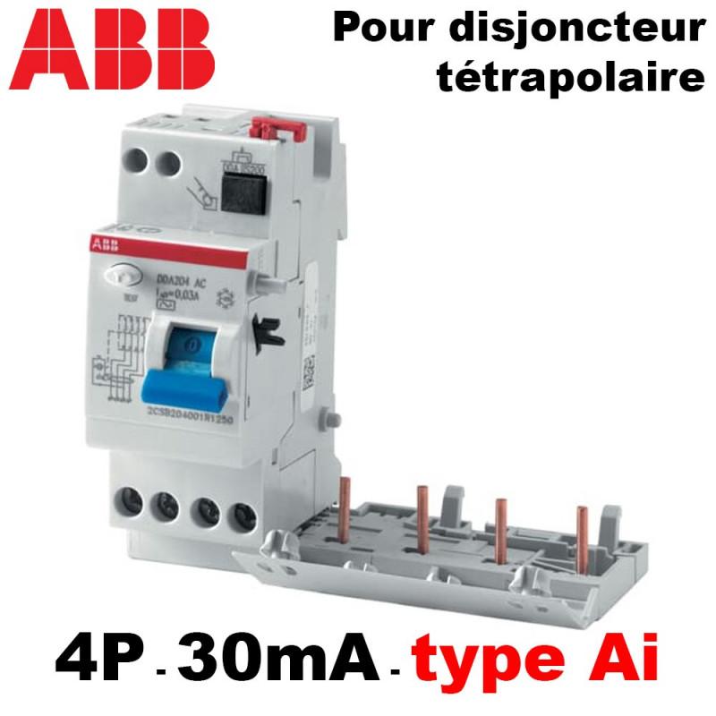 Bloc différentiel 30mA tétrapolaire type AI 2-4 modules ABB