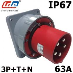 Prise murale tétrapolaire mâle 63A IP67 200V à 415V (compatible 380V)
