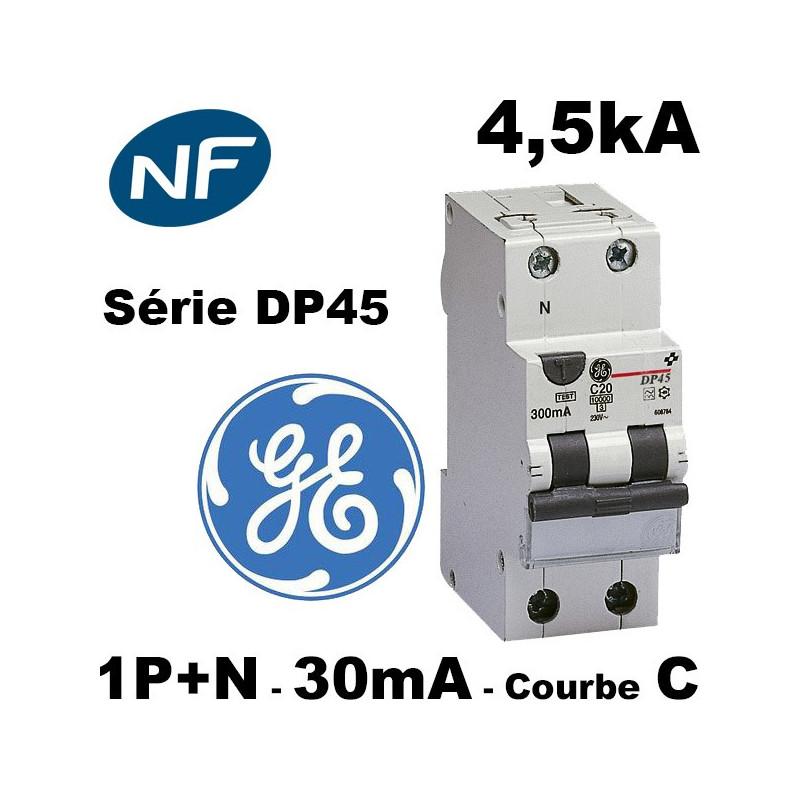 Disjoncteur différentiel 30mA phase neutre courbe C type AC GE General Electric