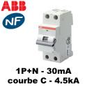 Disjoncteur différentiel 30mA phase neutre courbe C type AC ABB