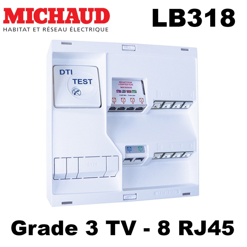 Tableau de communication Michaud LB318 NEO Grade 3TV 8RJ45 DTI+FILTRE TV4S Michaud