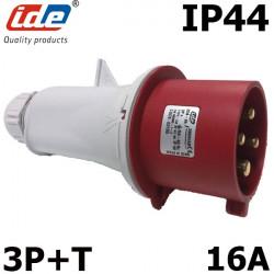 Fiche mâle triphasé 16A IP44 380V à 415V
