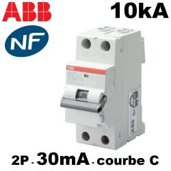 Disjoncteur différentiel 2P 30mA type A 10kA