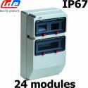 Coffret électrique étanche IP67 2x12 modules soit 24 modules sur 2 rangées