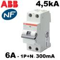 Disjoncteur différentiel 1P+N 300mA type AC 4,5kA ABB