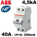 Disjoncteur différentiel 1P+N 300mA type AC 4,5kA