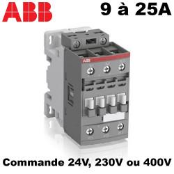Contacteur tripolaire 9A à 25A - 1NO + 1NF ABB