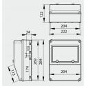 Dimensions coffret 8 modules extérieur IP67 Ref IDE 178PRR