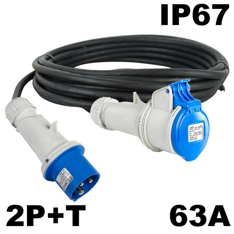 Rallonge mono 63A P17 2P+T câble souple HO7RNF 3x16mm²