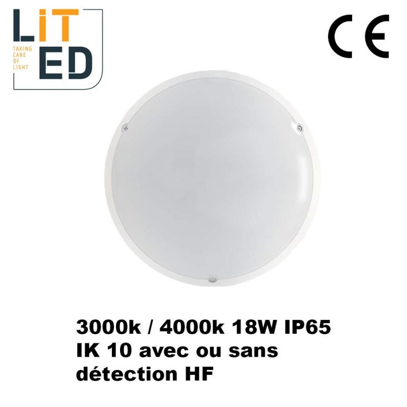 Hublots led 18W NAULOT Vasque opale IP65 - IK10 - avec driver ou détecteur LITED