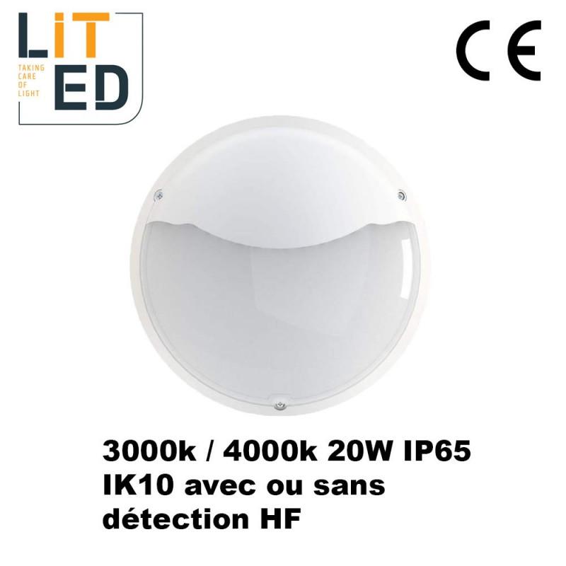 Hublots led 20W NAULOT Asymétrique Blanc - IP65 - IK10 - avec driver ou détecteur LITED
