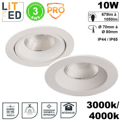 Spot led orientable ou fixe encastrable 10W IP44/65 3000/4000k 50000h - UGR inf.19 LITED