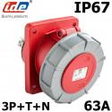 Prise à encastrer 63A 5 broches 3P+N+T 380V étanche IP67 IDE