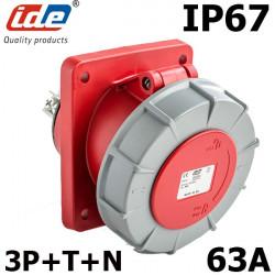 Prise à encastrer 63A 5 broches tétrapolaire 3P+N+T 380V étanche IP67
