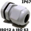 Presse étoupe ISO IP67 + contre écrou ISO 12, ISO 16, ISO 20, ISO 25, ISO 32, ISO 40, ISO 50 ou ISO 63