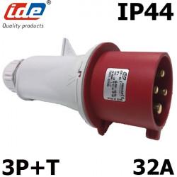 Prise mâle triphasé 380V 3P+T 32A IP44