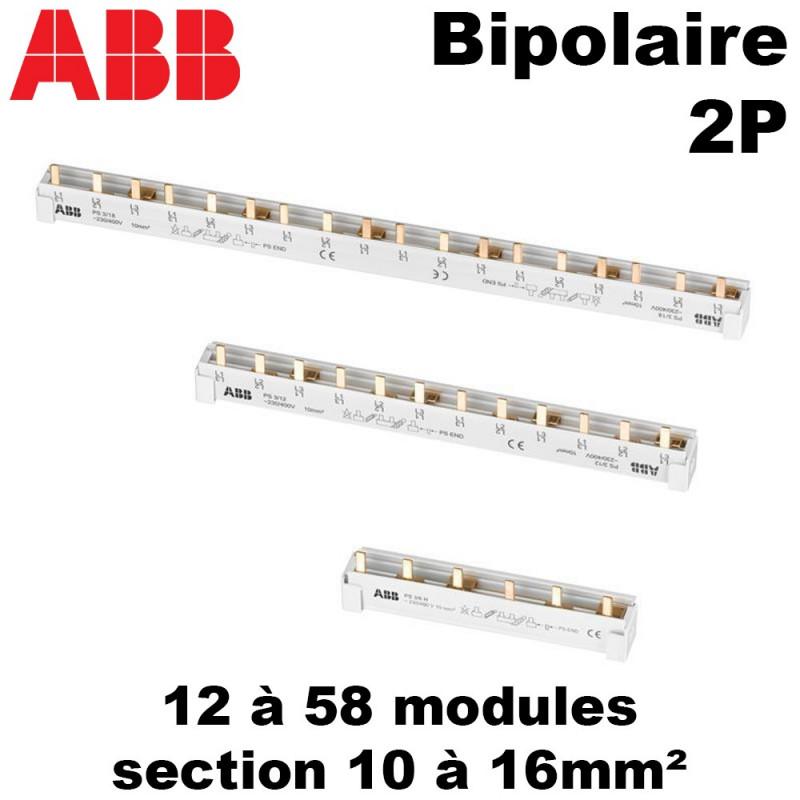 Peigne bipolaire 2P ABB pour disjoncteur 2 modules ABB