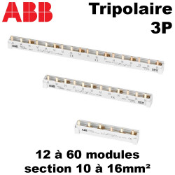 Peigne tripolaire 3P triphasé sans neutre ABB