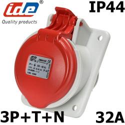 Prise 32A à encastrer 3P+N+T - 380V IDE