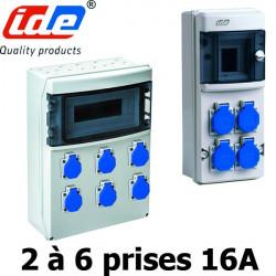 Coffret de prise étanche de 2 à 6 prises françaises 16A étanche IP54