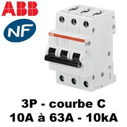 Disjoncteur triphasé 10kA courbe C