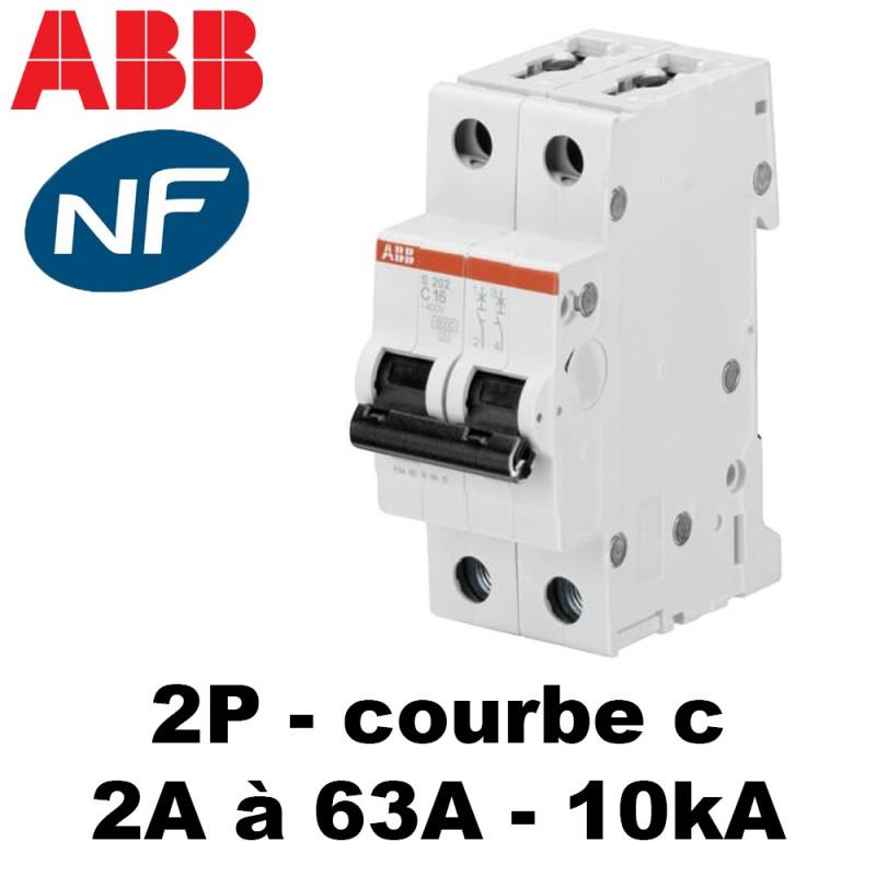 Disjoncteur bipolaire 10kA courbe C ABB