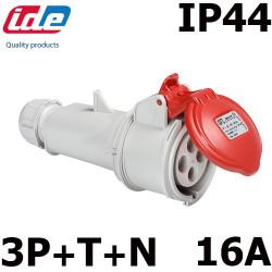Fiche femelle 380V pour prolongateur 16A tétrapolaire IP44