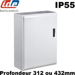Armoire polyester étanche IP55 IDE grandes dimensions: profondeur 312 ou 432mm