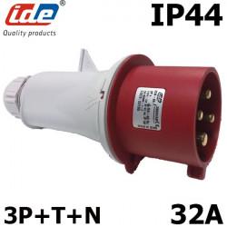 Fiche mâle tétrapolaire 5 broches 3P+N+T 32A - 380V - Étanche IP44