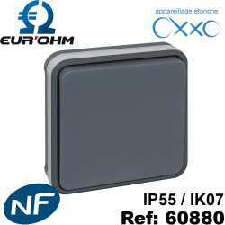 Interrupteur étanche encastrable 10A gris Eurohm OXXO