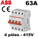 Interrupteur sectionneur tétrapolaire 63A 4NO 415V ABB