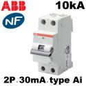 Disjoncteurs différentiels 30mA bipolaire type AI courbe C ABB