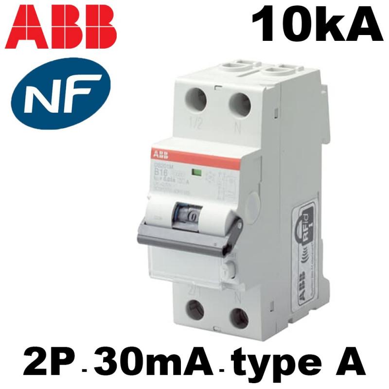 Disjoncteur différentiel 2P 30mA type A 10kA courbe C ABB