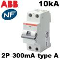 Disjoncteurs différentiels 1P+N 300mA type A 10kA ABB