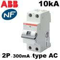 Disjoncteur différentiel 1P+N 300mA type AC 10kA ABB