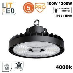 Gamelle industrielle LED Solem étanche IP65 100W à 200W 4000K avec driver 1-10V LITED