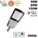 Luminaire tete de mât led STACK grise 50/150W 3000K étanche IP66 IK10 avec drive LITED
