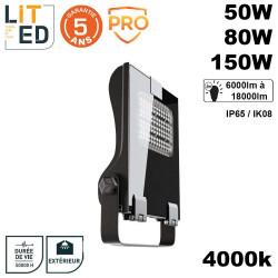 Projecteur led asymétrique extérieur IP65 50/150W 4000K APOLED avec driver prime LITED