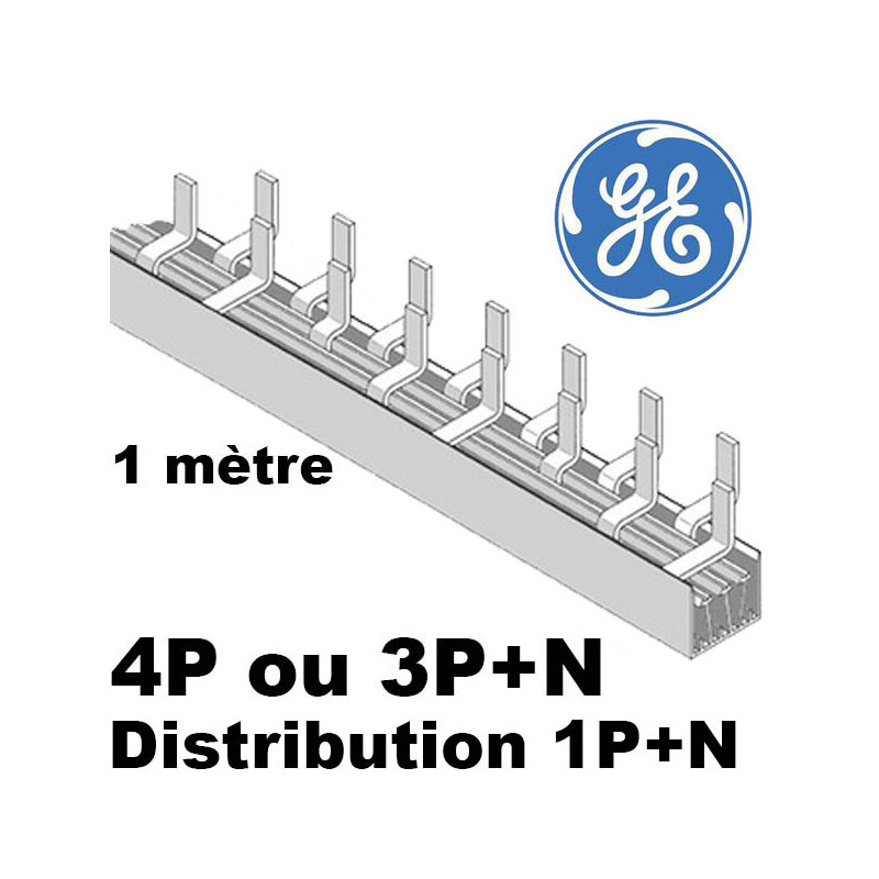 Peigne de répartition tétrapolaire phase neutre (4P vers 1P+N) GE General Electric