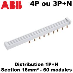 Peigne de répartition tétrapolaire phase neutre (4P vers 1P+N) ABB