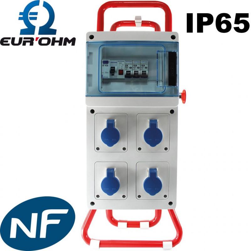 Coffret de chantier monophasé étanche IP65 4 prises 16A Eurohm Eur'Ohm