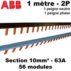 Peigne phase neutre 1 mètre 56 modules ABB ABB