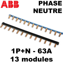 Peigne d'alimentation Phase Neutre 13 modules ABB