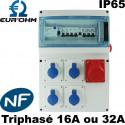 Coffret de chantier triphasé Eurohm 16A ou 32A étanche IP65 Eur'Ohm