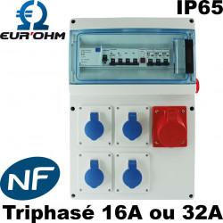 Coffret de chantier triphasé Eurohm 16A ou 32A étanche IP65