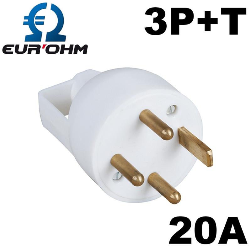 Fiche male triphasé 20A 3P+T avec anneau & entrée de cable droite Eur'Ohm