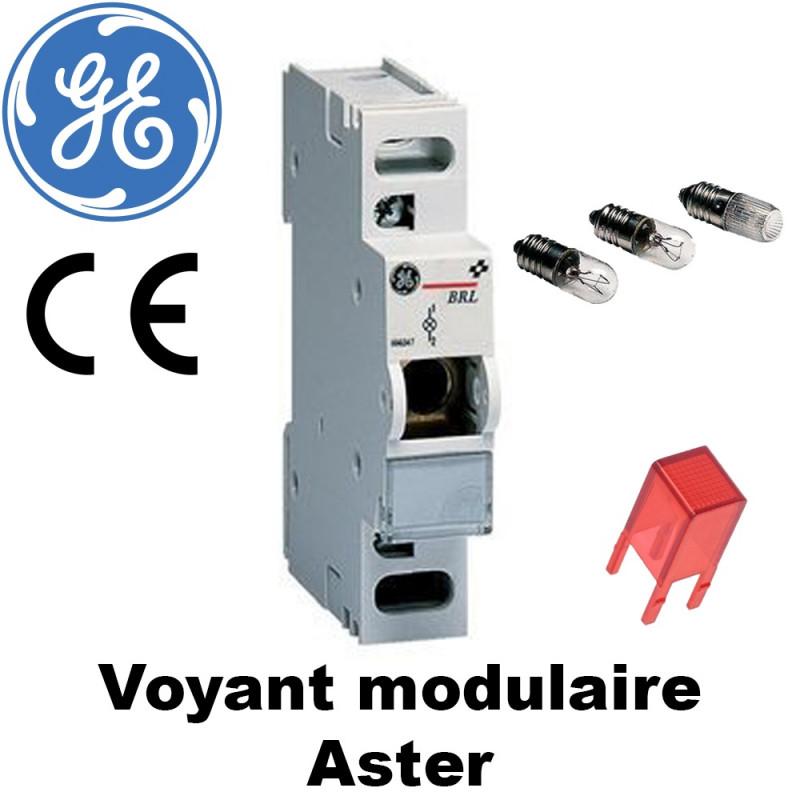Voyant modulaire ASTER GE avec lampe à filament et lentille rouge General Electric